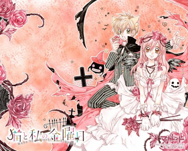 anime girl blonde hair cake cloak dress eating flower jewelry long hair neko mimi pink hair ribbon short hair smile stars wallpaper