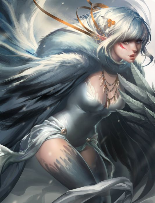 anime girl blue eyes dress feather heterochromia jewelry long hair orange eyes pointy ears ribbon white hair wallpaper