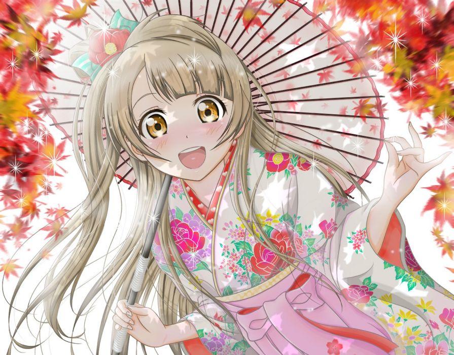 anime girl blush brown hair flower happy kimono long hair ribbon side tail umbrella yellow eyes wallpaper