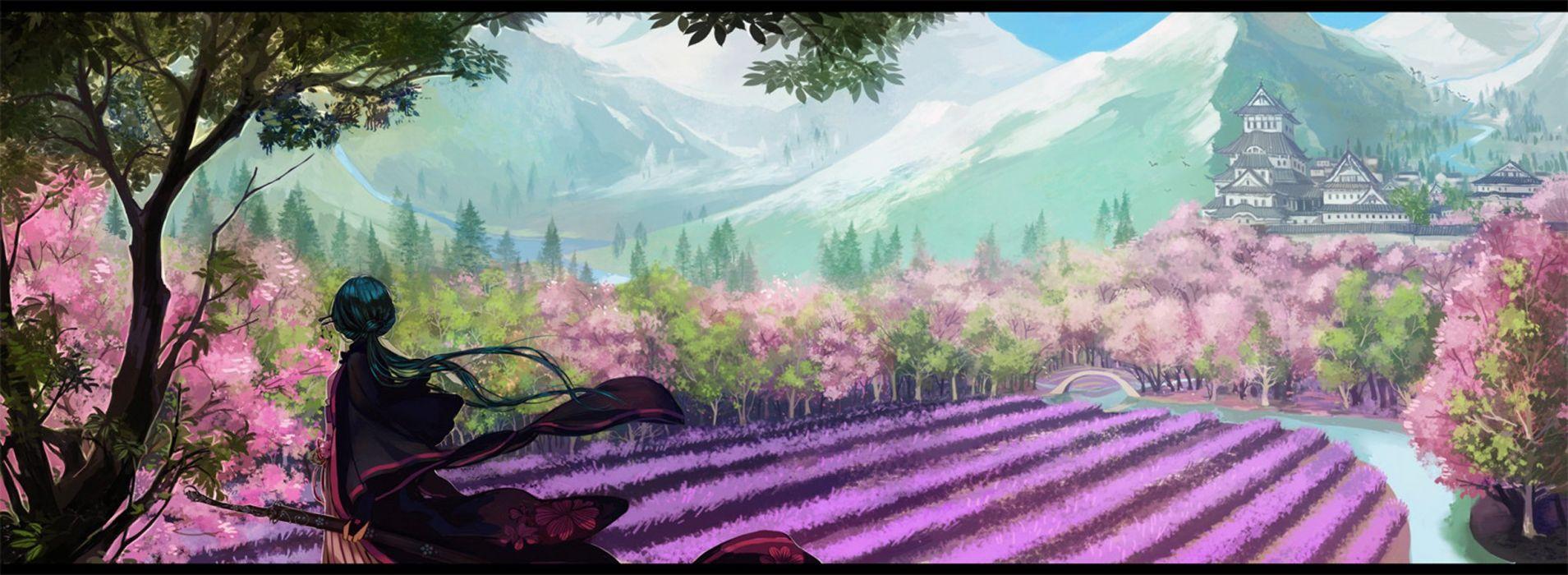 anime girl blue hair dress long hair sakura sword tree wallpaper