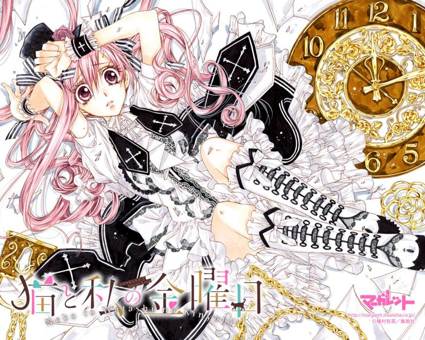 anime girl boots chain curly hair dress flower hat long hair pink eyes pink hair ribbon wallpaper