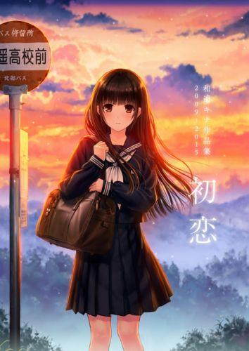 anime girl brown eyes brown hair long hair school bag seifuku sky smile sunset wallpaper