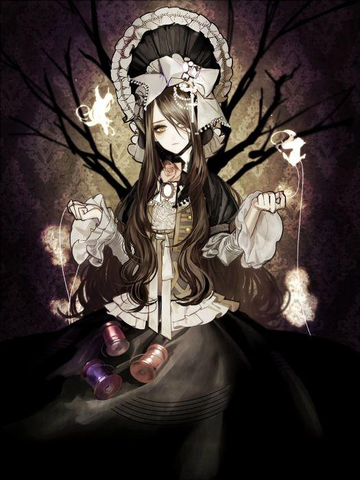 anime girl brown eyes brown hair fairy flower headdress long hair ribbon sad tree wallpaper