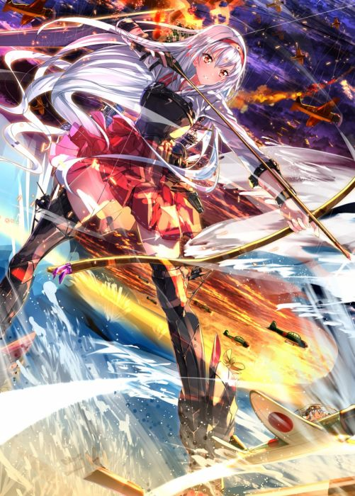 anime girl anthropomorphism blush boots bow and arrow brown eyes fire gloves grey hair hair band hakama hat long hair ribbon sky sunset vehicle water weapon Kantai Collection wallpaper