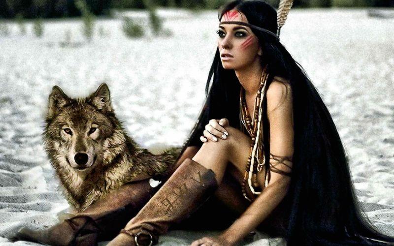art artwork photoshop manipulation fantasy photo artistic wolf wolves indian sexy babe wallpaper