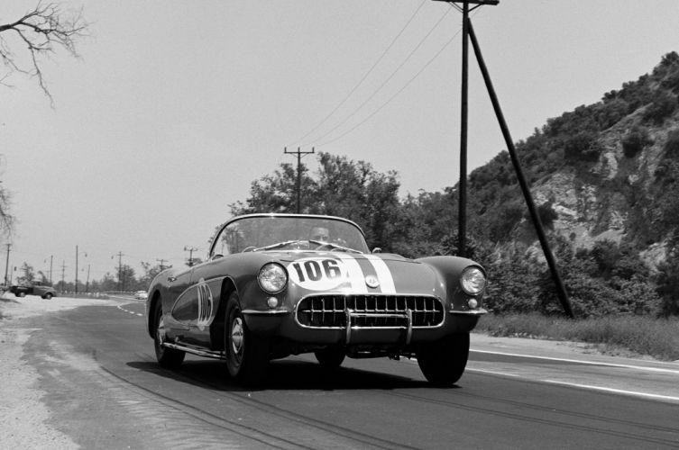 SCCA 1956 Chevrolet Corvette race racing muscle supercar retro lemans le-mans grand prix wallpaper