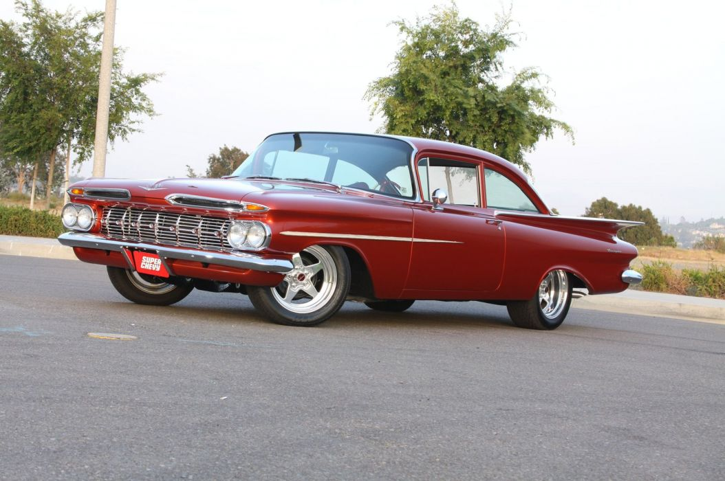 1959 Chevy Biscayne muscle custom hot rod rods retro wallpaper