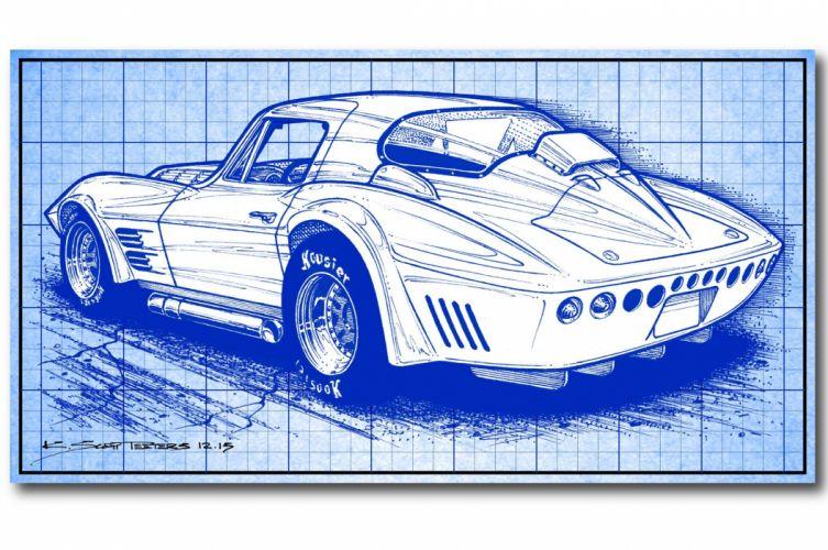 Chevrolet Corvette race racing le-mans supercar muscle art artwork lemans hot rod rods wallpaper