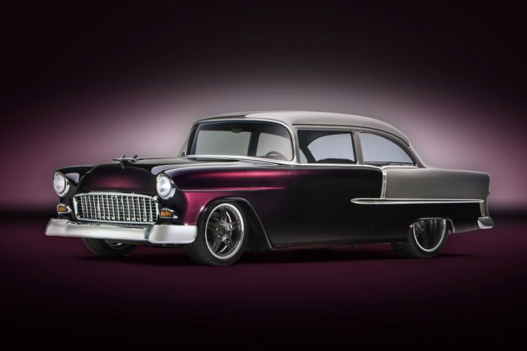 1955 Chevrolet Bel Air hot rod rods custom retro belair wallpaper