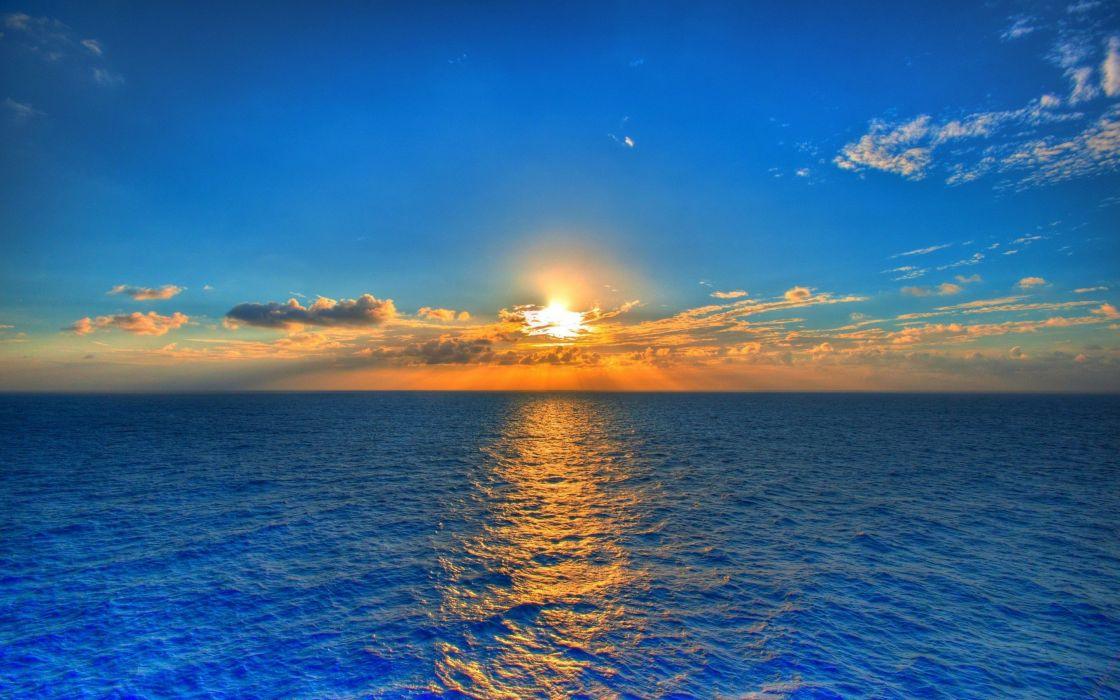 mar cielo azul amanecer nubes wallpaper