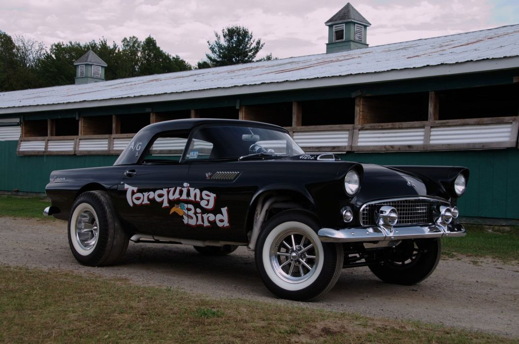 1955 T Bird Gasser Ford Thunderbird Drag Race Racing Hot Rod Rods Retro Wallpaper