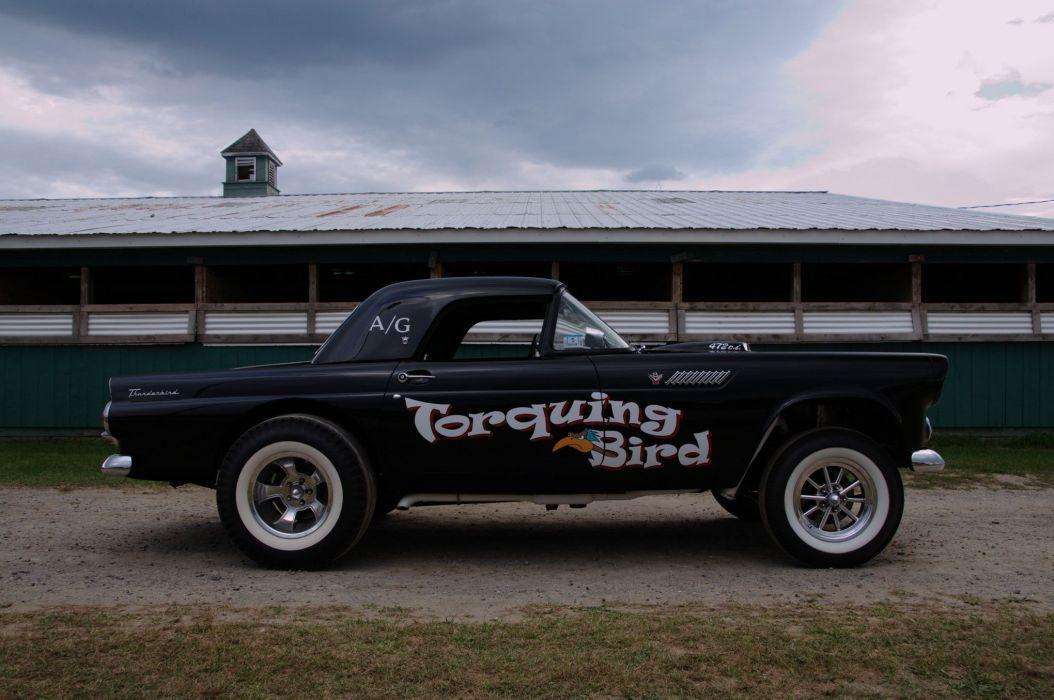 1955 T-bird Gasser ford thunderbird drag race racing hot rod rods retro wallpaper