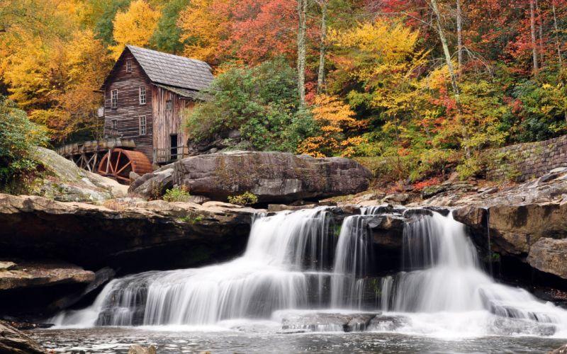 naturaleza casa cascadas bosque wallpaper
