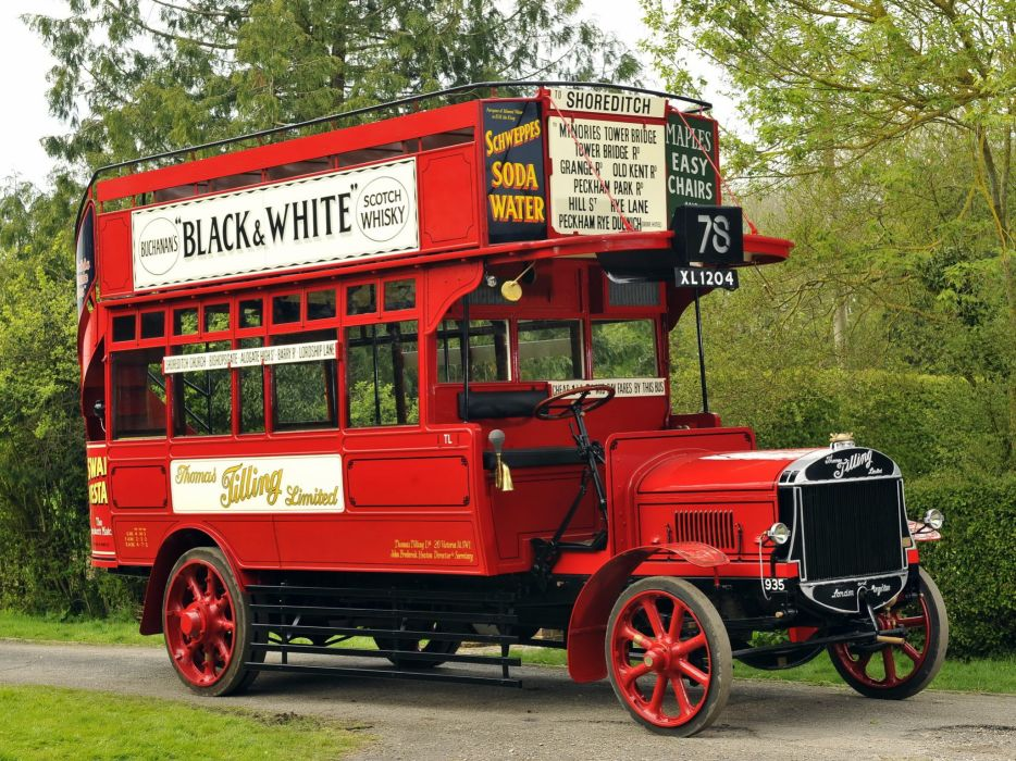 1922 Tilling Stevens TS3A Petrol Electric Open top Double Deck Bus transport semi tractor vintage wallpaper