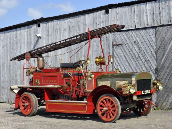 1913 Merryweather Fire Engine emergency firetruck semi tractor vintage wallpaper