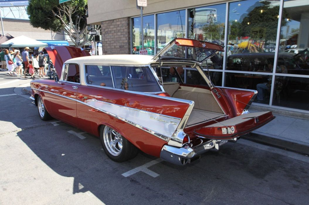 1955-57 Chevrolet hot rod rods custom retro stationwagon wallpaper