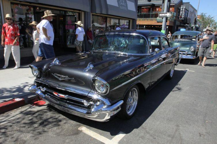 1955-57 Chevrolet hot rod rods custom retro wallpaper