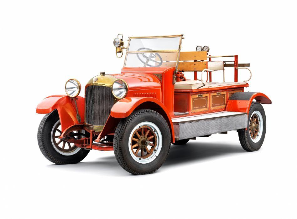 1919 Laurin Klement M-F Fire Engine firetruck semi tractor vintage fire wallpaper