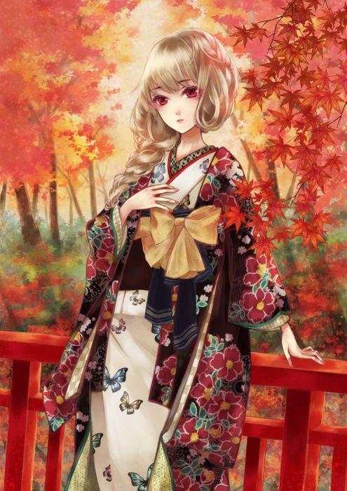anime girl autumn blonde hair braids butterfly kimono long hair pink eyes side tail tree wallpaper
