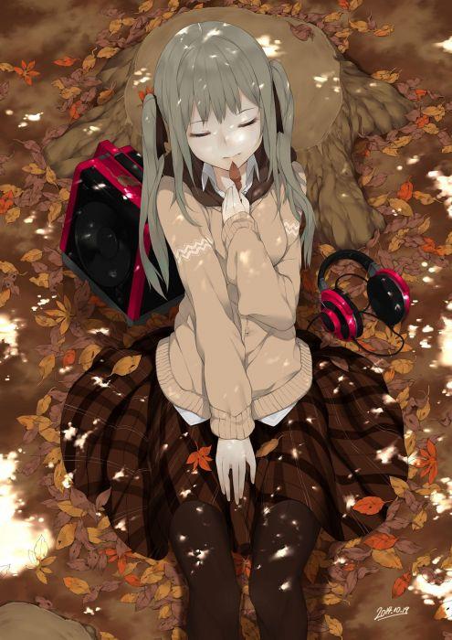 anime girl beautiful autumn brown hair headphones long hair pantyhose ribbon skirt sweater twin tails wallpaper
