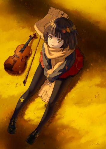 anime girl beautiful autumn pantyhose scarf seifuku short hair violin yellow eyes wallpaper