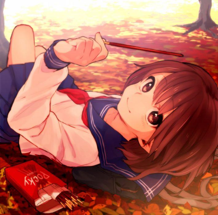 anime girl beautiful autumn red eyes red hair school bag seifuku short hair smile sweets wallpaper