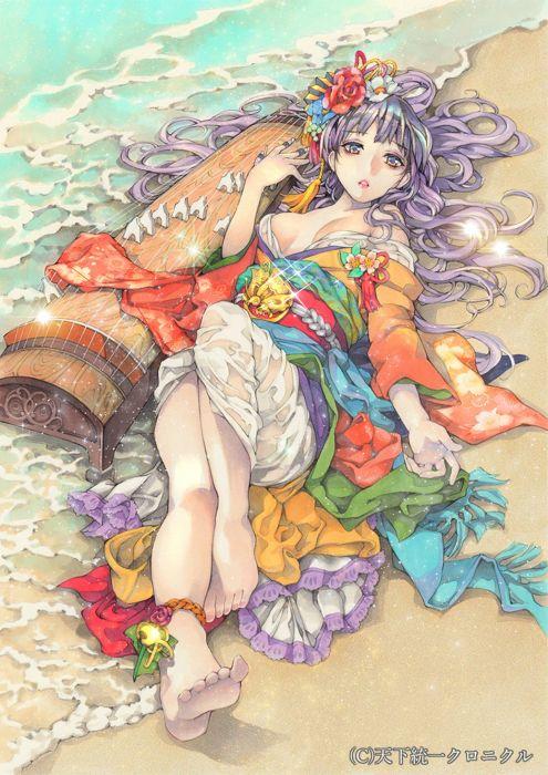 anime girl beautiful barefoot beach bells flower jewelry kimono long hair musical instrument purple hair red eyes water wallpaper