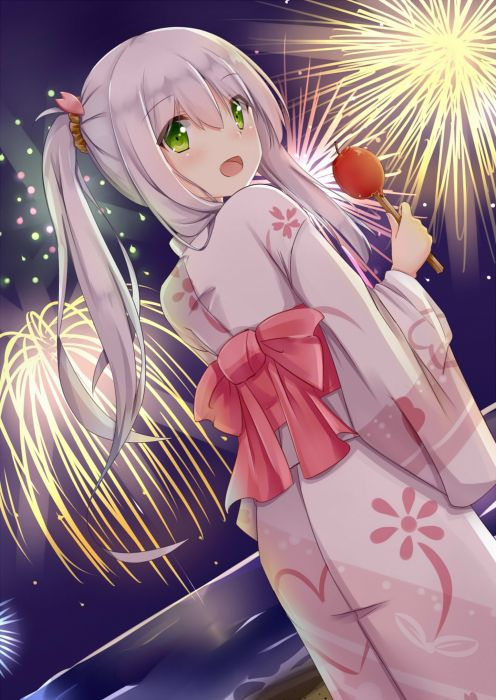 anime girl beautiful beach blush fireworks food green eyes grey hair happy kimono long hair night ribbon side tail sky water wallpaper