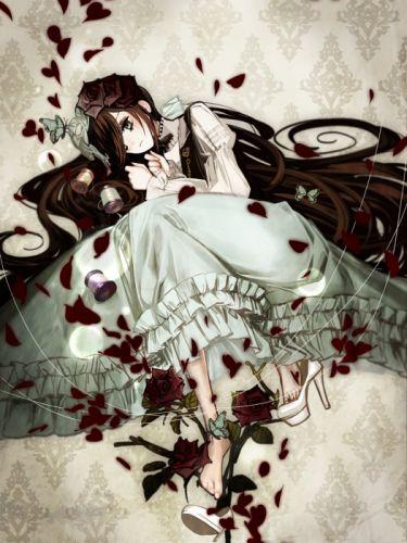 anime girl beautiful barefoot brown hair butterfly dress flower green eyes headdress high heels long hair wallpaper