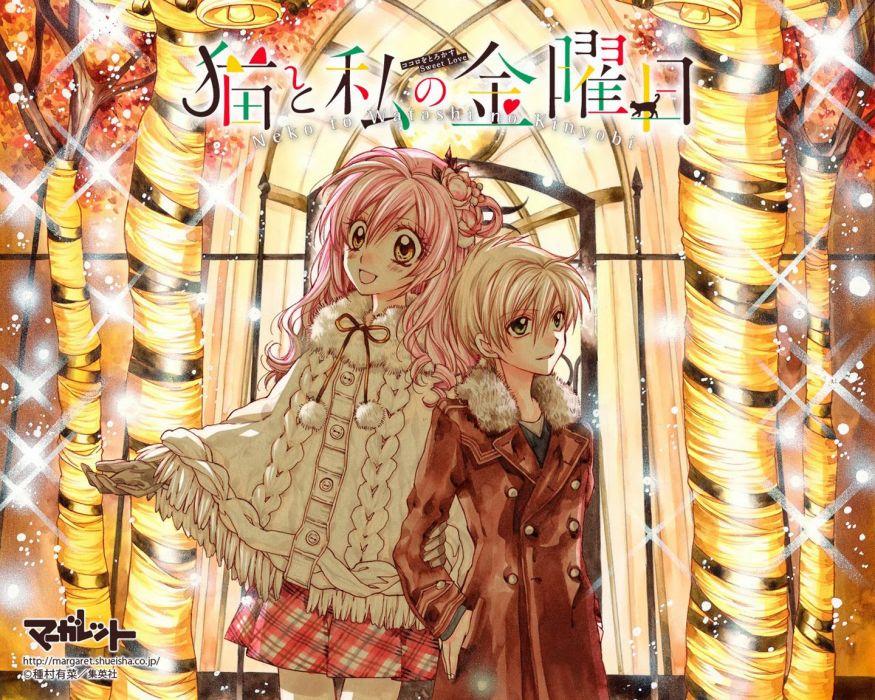 anime girl beautiful bells blonde hair blush green eyes happy long hair pink hair short hair smile snow wallpaper yellow eyes wallpaper
