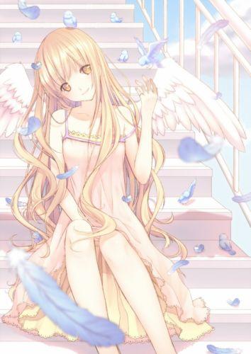 anime girl beautiful bird blonde hair feather jewelry long hair orange eyes sky smile sundress tenshi wallpaper