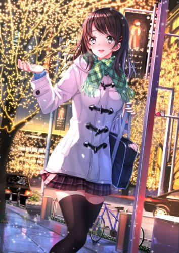 anime girl beautiful bike blush brown eyes brown hair christmas hairpins happy jacket long hair scarf school bag skirt thigh highs tree winter wallpaper