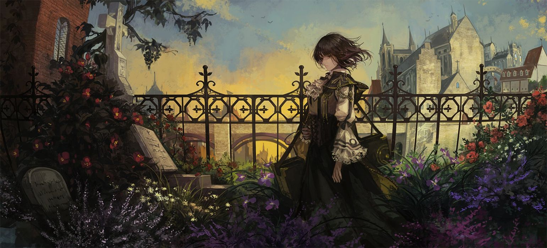 anime girl beautiful bird brown eyes brown hair dress flower short hair sky wallpaper