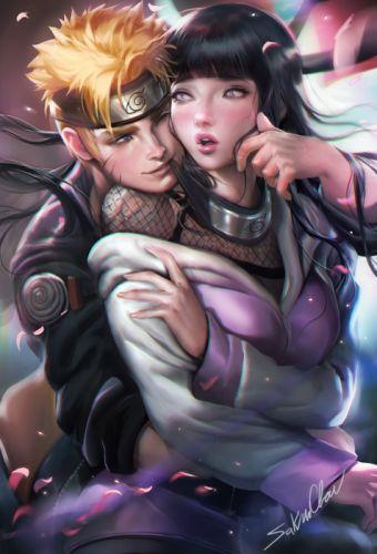 anime girl beautiful black hair blonde hair blue eyes couple hoodie hug long hair ninja purple eyes short hair smile surprised wink wallpaper