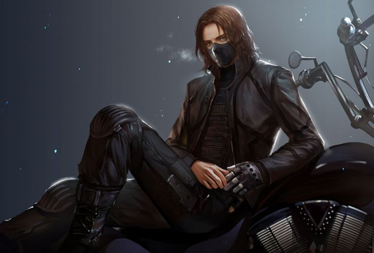 fantasy male blue eyes boots brown hair bucky barnes captain america the winter soldier gloves long hair male mask motorcycle wallpaper