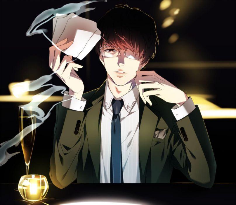 anime male brown eyes brown hair drink glasses male mozu mtktc shingai kazuhiko shirt short hair smoking suit tie wallpaper