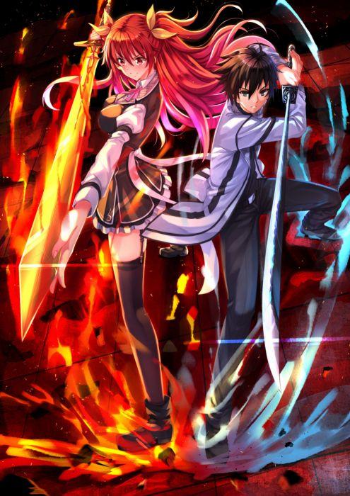 Anime girl beautiful black eyes black hair blush fire ice - Anime girls with fire ...