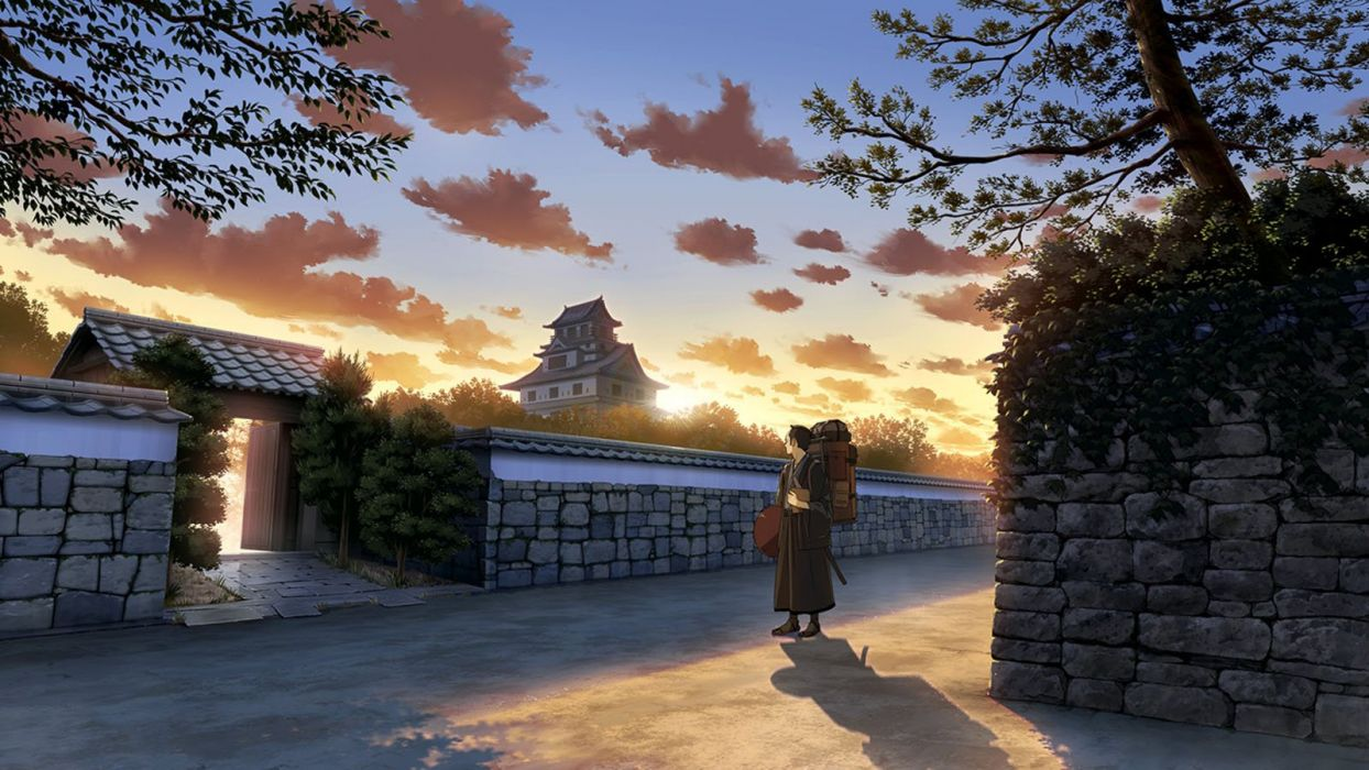 anime male building clouds japanese clothes male original scenic sky tree wallpaper