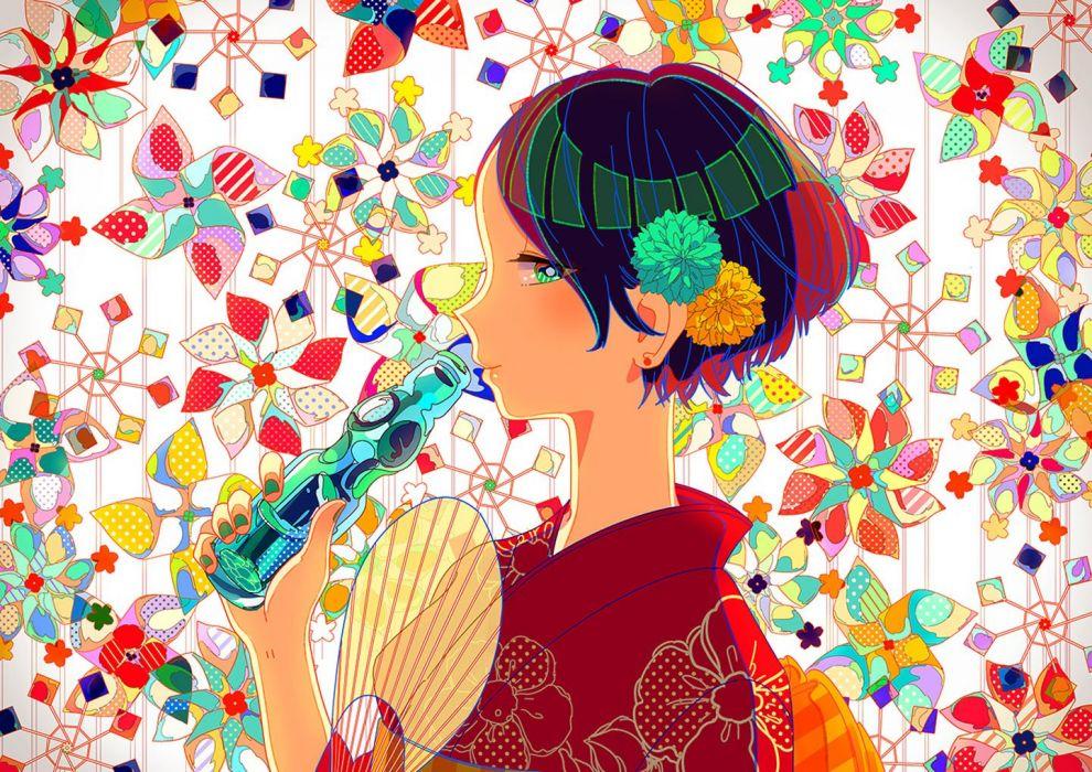 anime girl beautiful drink fan flowers japanese clothes kimono original short hair wallpaper