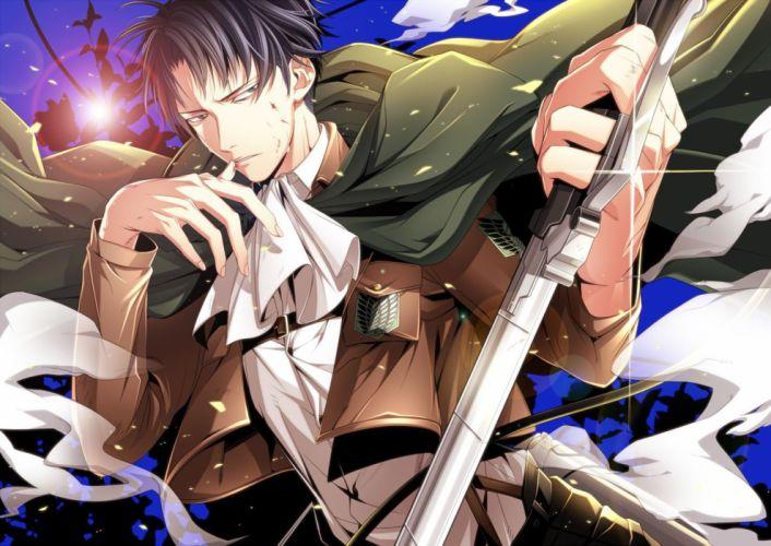 anime male black eyes black hair blood cape male shingeki no kyojin short hair sword uniform weapon wallpaper