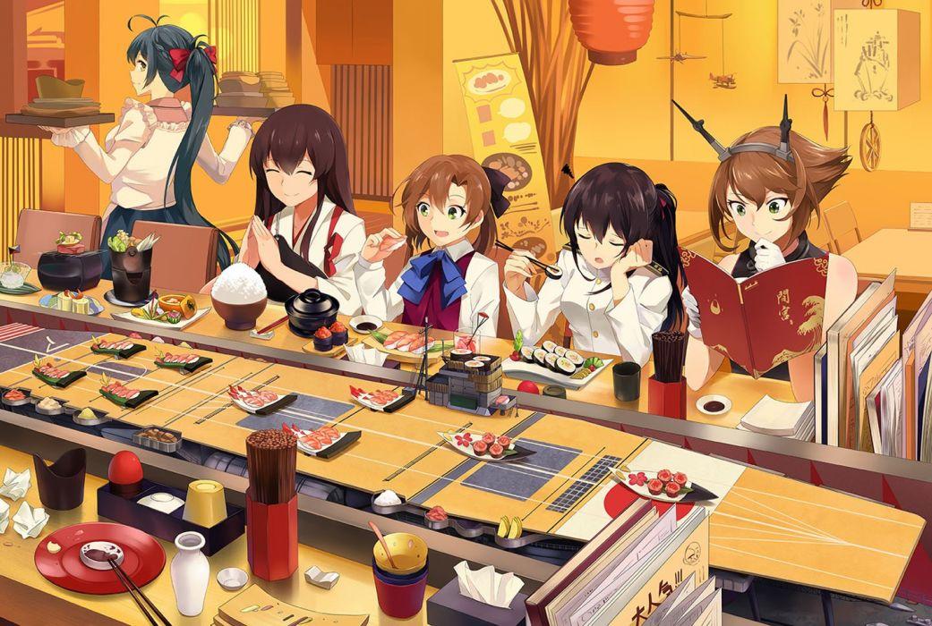 anime girl beautiful akagi (kancolle) book food gloves group irako (kancolle) japanese clothes long hair mutsu (kancolle) neko (yanshoujie) ponytail short hair uniform wallpaper