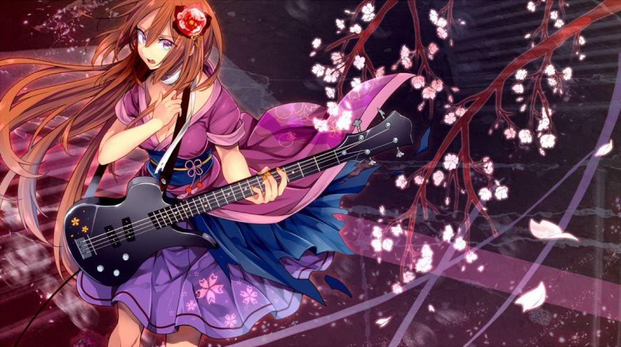 anime girl beautiful breasts brown hair cleavage dress guitar headdress instrument long hair male namine ritsu petals skirt toudou charo trap utau wallpaper