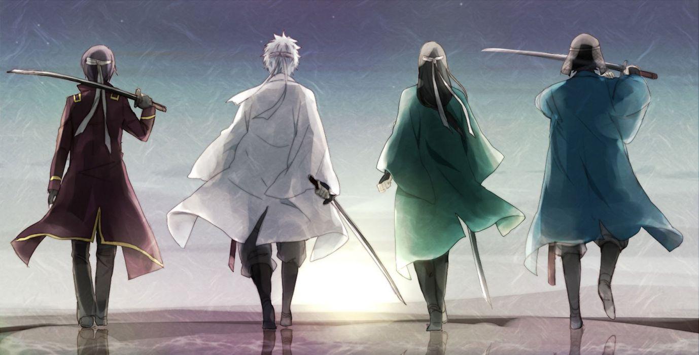 anime male gintama katsura kotarou male sakamoto tatsuma sakata gintoki sunset sword takasugi shinsuke weapon wallpaper