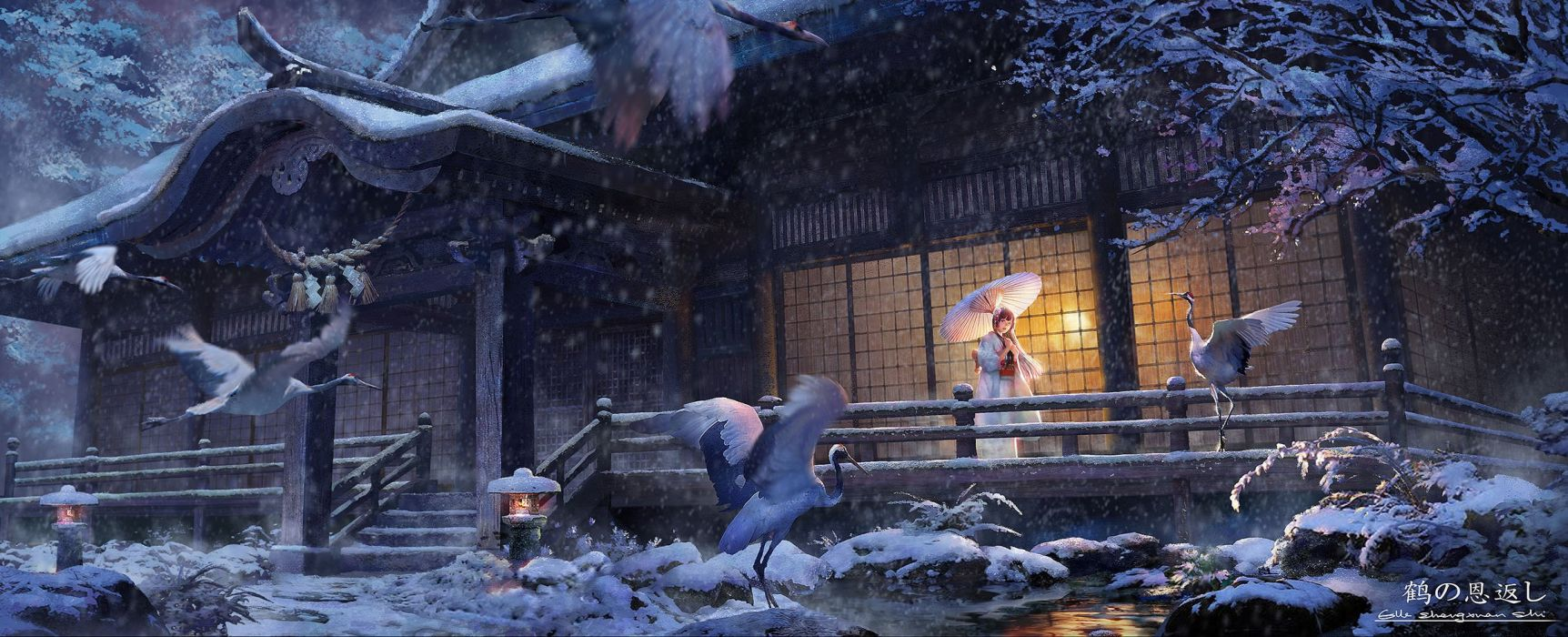 anime girl beautiful animal bird dualscreen japanese clothes kimono lost elle rope shrine signed snow tree tsuru no ongaeshi umbrella water winter wallpaper