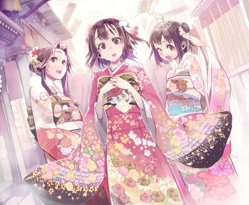 anime girl beautiful anime brown eyes brown hair japanese clothes kantai collection kimono short hair wallpaper