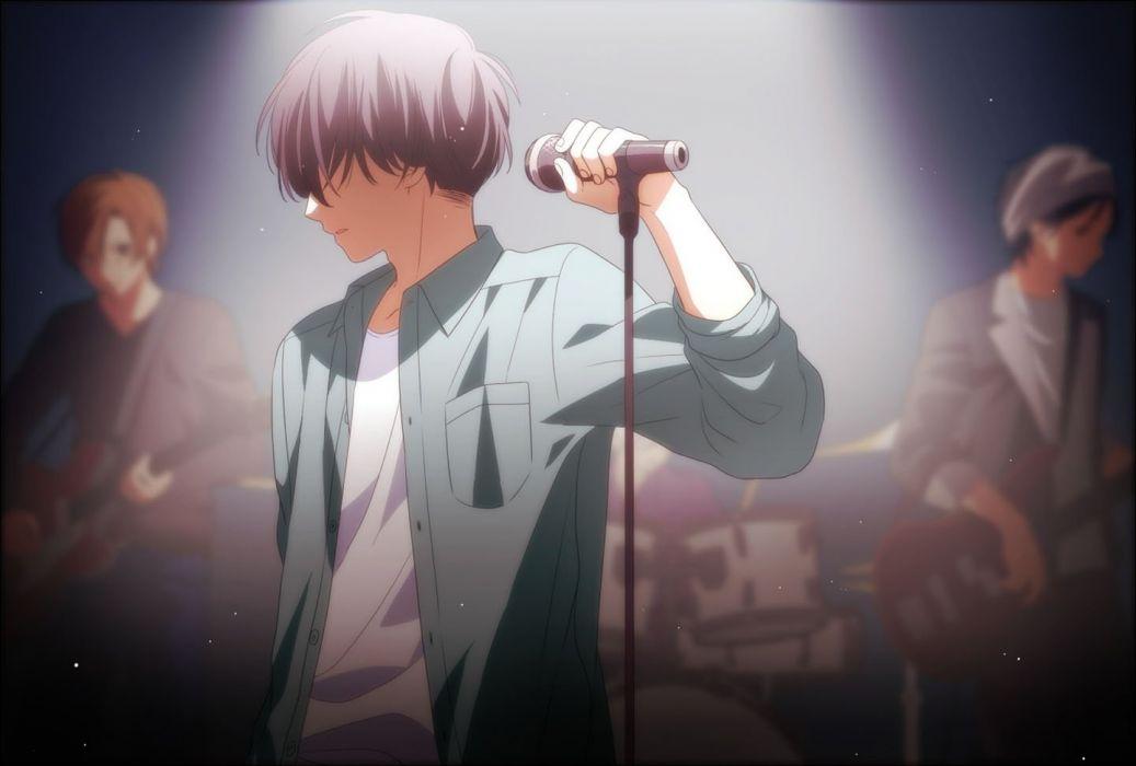 anime male drums guitar instrument male microphone original short hair wallpaper
