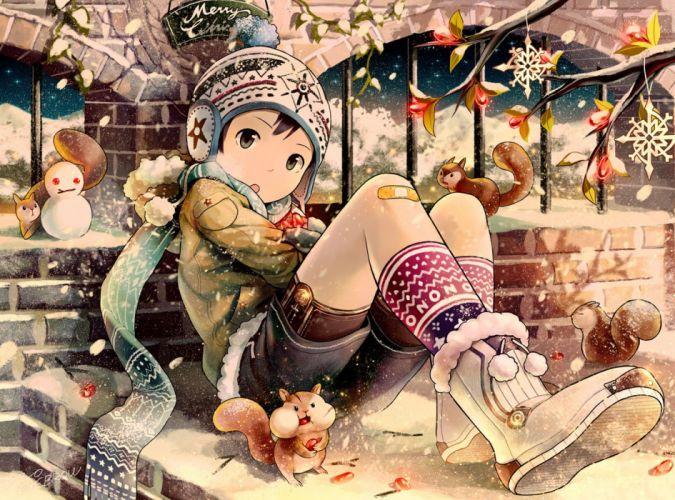 anime animal bandaid black hair boots christmas gray eyes hat hoodie male original scarf short hair shorts snow socks winter wallpaper
