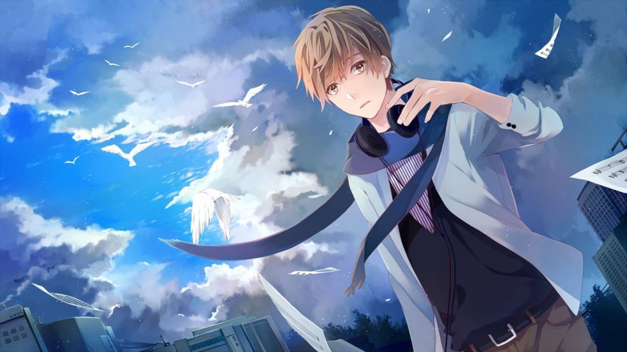 anime male animal bird blue building clouds headphones male original sky wallpaper