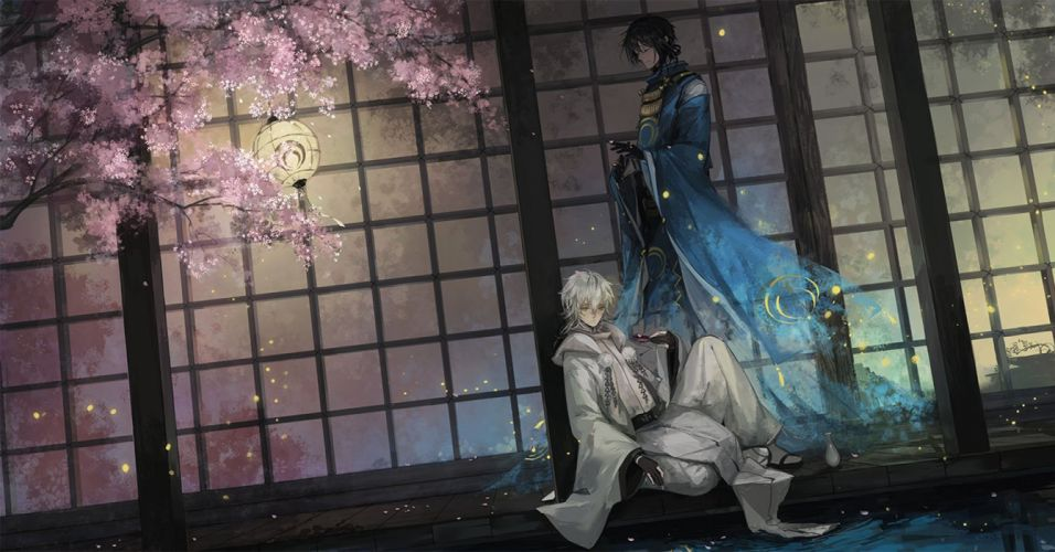 anime male anthropomorphism black hair cherry blossoms drink gloves japanese clothes lily fairy male petals touken ranbu water white hair wallpaper
