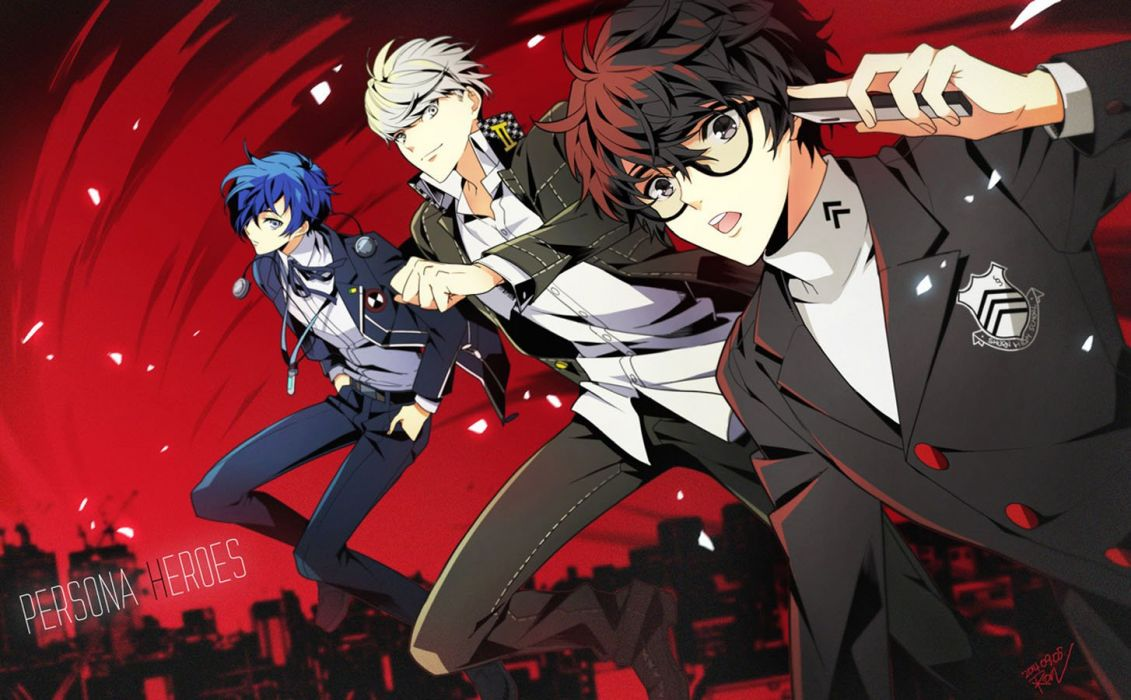 Anime Male Black Eyes Blue Hair Glasses Gray Persona